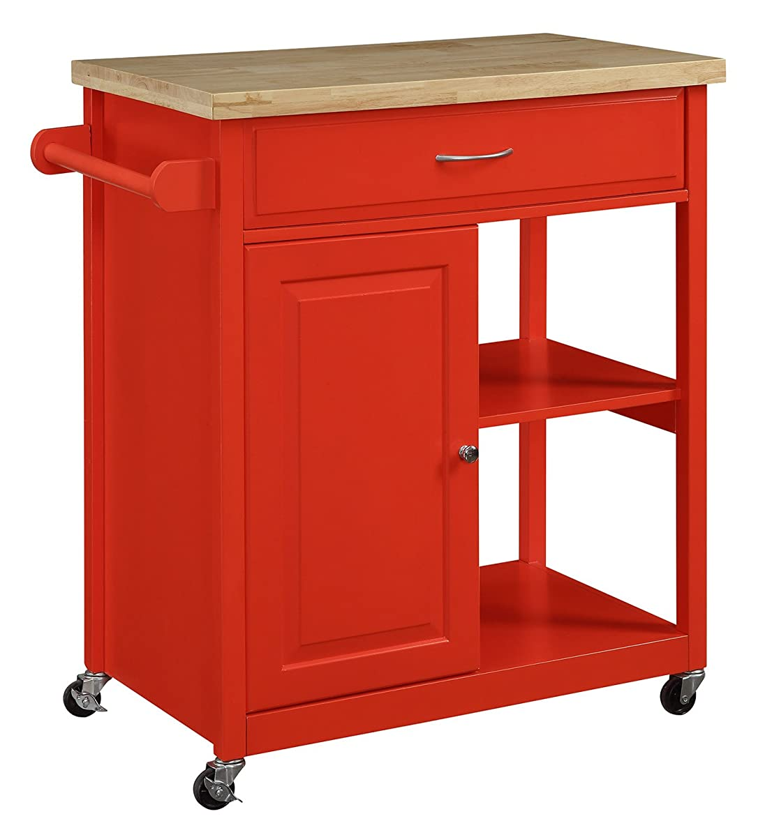 Oliver and Smith - Nashville Collection - Mobile Kitchen Island Cart on Wheels - Red - Natural ...