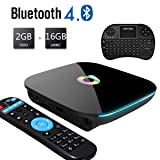 Easytone 2018 Android TV Box, 2GB RAM 16GB ROM Amlogic Quad Core 64 Bits Processor 3D 4K Bluetooth Android Boxes with Mini Keyboard (Color: QBOX/16G)