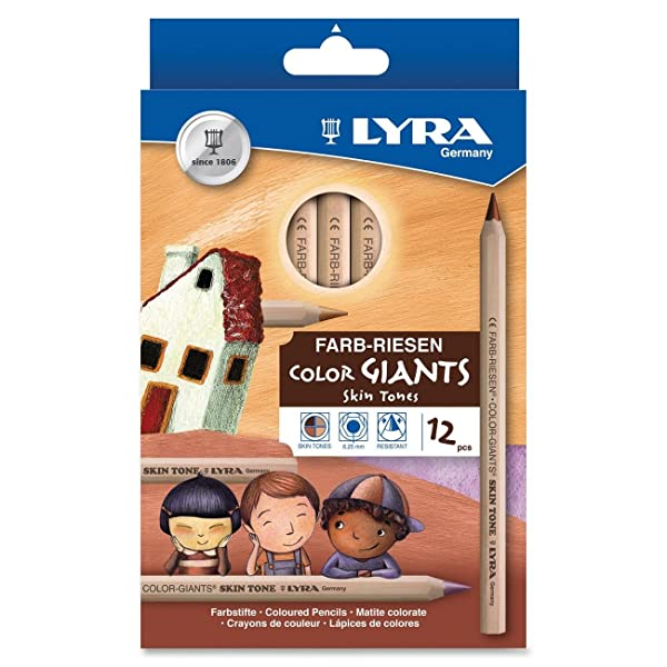 Dixon Ticonderoga Company Lyra Color Giants Skin Tone Colored Pencils (DIX3931124) (Color: ASSORTED)