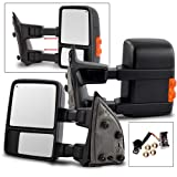 Make Auto Parts Manufacturing Set of 2 Left and Right Side Power Operated Heated Amber Signal Tow Mirror For Ford F250/F350 Super Duty 1999-2007 / Excursion 2001-2005 - FO1320196, FO1321196