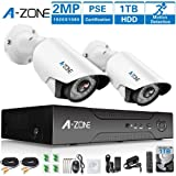 A-ZONE 1080P Security Camera System 2 Camera 4 Channel DVR AHD Surveillance Camera System W/2x HD 1080P waterproof Night vision Indoor/Outdoor Home Security Cameras-Including 1TB HDD (Color: 4CH DVR 2pcs 1080P camera with 1TB)