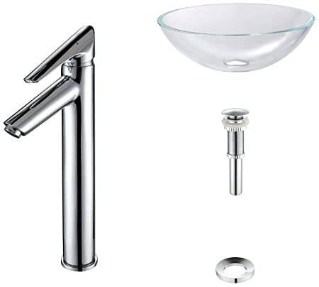 Kraus C-GV-100-12mm-1800CH Crystal Clear Glass Vessel Sink and Decus Faucet Chrome