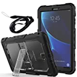 Newseego Samsung Galaxy Tab A6 10.1'' Case, Full Body Shockproof Hybrid Rugged Heavy Duty Protective Case with Shoulder Straps & Sturdy Kickstand for Galaxy Tab A 10.1'' Tablet (SM-T580/T585)- Clear (Color: Clear)