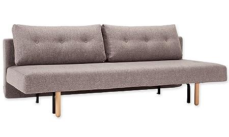 La innovación sofá cama con patas de madera rombo tela gris
