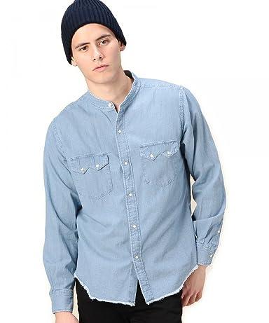 Denim Band Collar Western Shirt 1211-149-6622: Washed