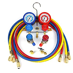 R134A FAVORCOOL CT-136G 3-Way AC Diagnostic Manifold Gauge Set with Case for Freon Charging fits R410A R22 Refrigerants Sight Glass /& 1//2 Acme Fittings Quick Couplers /& Adapters Aluminum Body