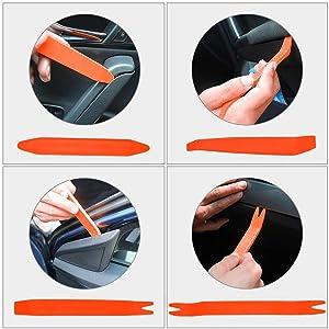 XBRN Auto Trim Removal Tool Kit,5 Pcs Car Panel Door Window Tools Kit,Auto Clip Fastener Remover Pry Tool Set