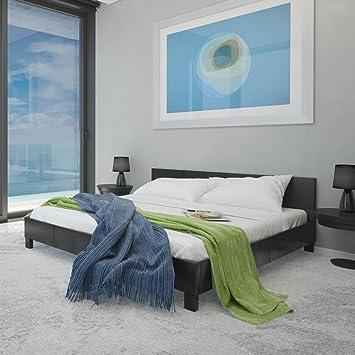 De colour negro de piel sintética y marco de la cama 140 x 200 cm