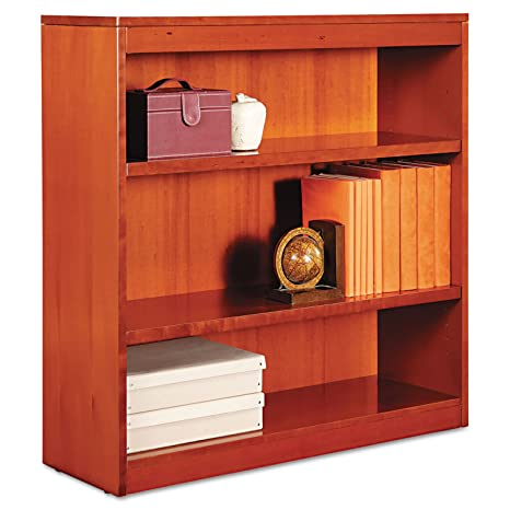 Square Corner Wood Veneer Bookcase, 3-Shelf, 35-3/8 x 11-3/4 x 36, Medium Cherry, Sold as 1 Each