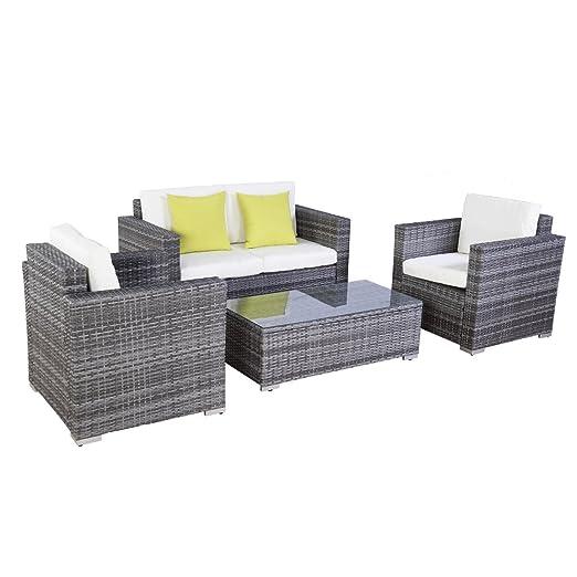 Poly Ratten Lounge Gartenmöbel Rattan Lounge Set Garnitur Gartenmöbel Sitzgruppe Outdoor mit 2 Grune Kissen