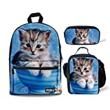 Bigcardesigns Cute Kitten Cat Blue Canvas Backpack School Rucksack with Lunch Bag Pencil Case 3 Sets for Girls (Color: Cup Cat- 3 pcs/set, Tamaño: Medium)