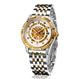 BINLUN 18K Gold Plated Automatic Wrist Watches for Men Luxury Men's Dress Watch (Silver-Gold) (Color: silver-gold)