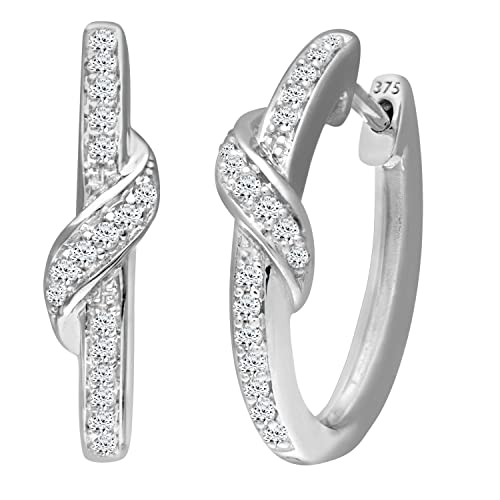 Naava Women's Diamond 9 ct White Gold Earrings