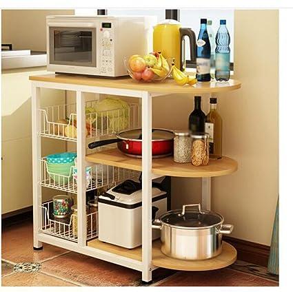 estable Estantería de cocina Multifunción Horno de microondas Estante Múltiples capas Almacenamiento Estantes de almacenamiento Amarillo Roble Marco blanco Simple y elegante