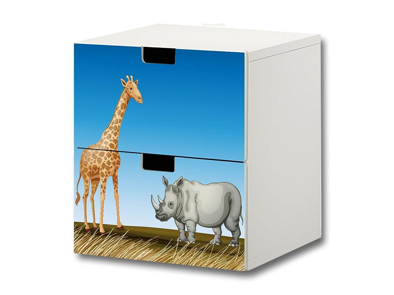 """""""Tierwelt Afrika"""" Möbelsticker / Aufkleber – S2K16 – passend für die Kinderzimmer Kommode mit 2 Fächern / Schubladen STUVA von IKEA – Bestehend aus 2 passgenauen Möbelfolien (Möbel nicht inklusive) online bestellen"""