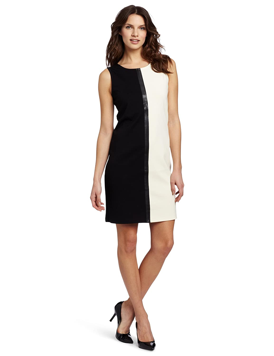 Evolution by Cyrus Women's Sleeveless Crew-Neck Color-Block Faux-Leather Trim Dress: