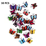 FINGOOO 30 Pieces Butterfly Push Pins for Cork Board Colorful Butterfly Thumb Tacks Decorative Thumb Tacks for Photo Wall ,Cork Board Decorations (Color: Butterfly)