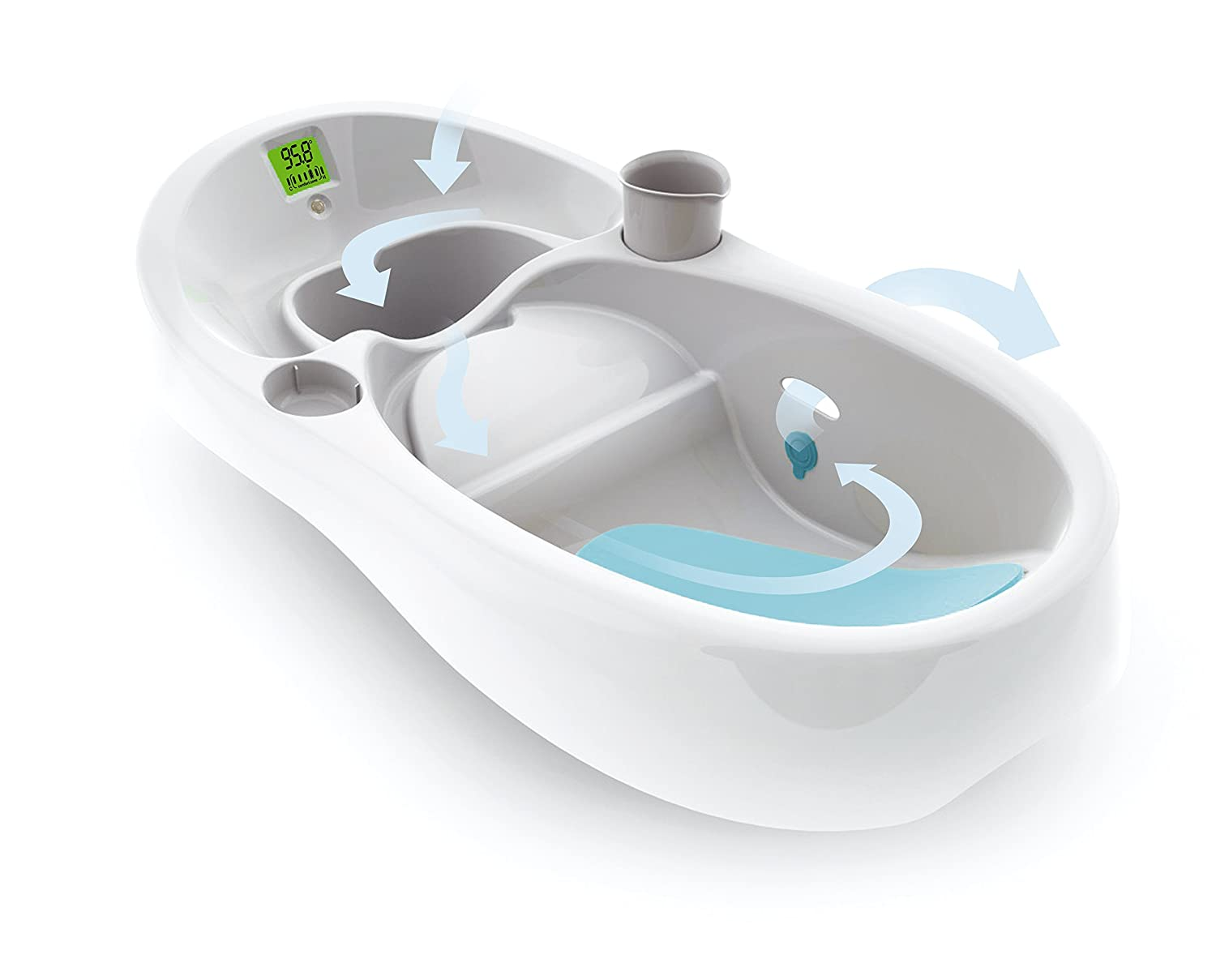 baby bath infant tub white digital thermometer single double sinks cup holder ebay. Black Bedroom Furniture Sets. Home Design Ideas