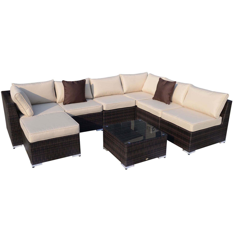 Outsunny Gartenmöbel 25 teilig Polyrattan Sofa Sitzgruppe Alu Rattan mix inklusive Kissen, braun günstig kaufen