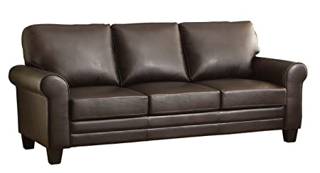 Homelegance 8579DB-3 Upholstered Sofa, Dark Brown Bonded Leather Match