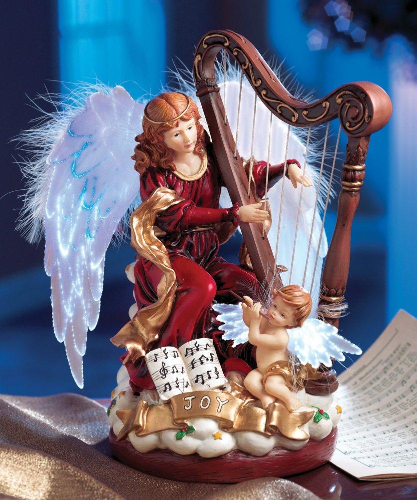 Fiber Optic Angel Playing Harp Musical Figurine