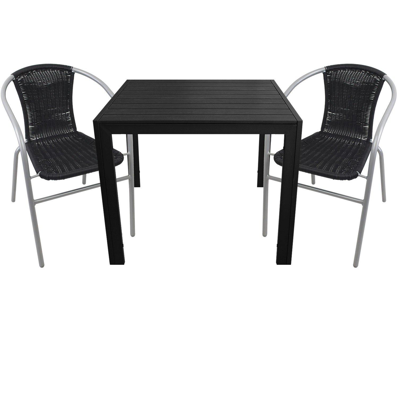 3tlg. Gartengarnitur Aluminium Gartentisch 90x90cm mit Polywood Tischplatte Polyrattan Bistrostuhl stapelbar Schwarz/Silbergrau