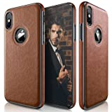 iPhone X Case, LOHASIC Ultra Slim & Thin Premium Leather Luxury PU Soft Flexible Hybrid Defender Bumper Anti-Slip Grip Scratch Resistant Protective Cover Cases for iPhone X 10 - [Brown] (Color: Brown)