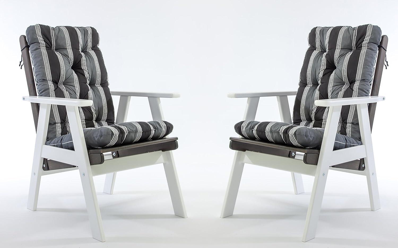 GARDENho.me 2er Set Massivholz verstellbarer Sessel VARBERG inkl. Kissen Hochlehner Weiß/Taupegrau