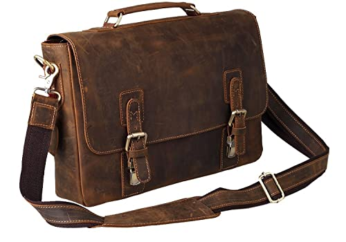 Kattee Mens Crazy Horse Leather Shoulder Briefcase