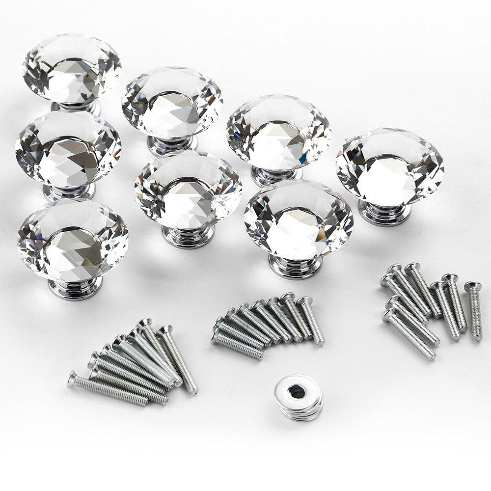Gimbal® 8 x 30mm Kristall Griff Möbelknopf Glas Diamant-Form Möbelgriff Handgriff Schrank Schublade Türknopf kaufen
