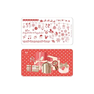 CICI&SISI Merry Christmas Nail Art Stamping Plates Kit Holiday Stamp Plate Manicure Template 6 Pieces (Tamaño: Merry Chritmas)