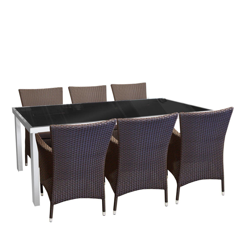 7tlg. Gartengarnitur Aluminium Glastisch 180x90cm Gartentisch Poly Rattansessel Loungesessel inklusive Sitzpolster Sitzgruppe Terrassenmöbel online kaufen
