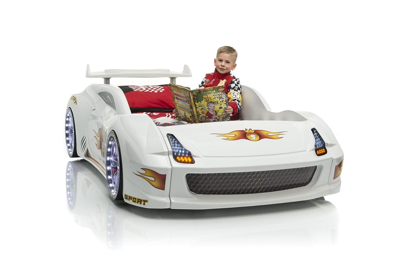 Autobett Kinderbett Jugendbett Fivex weiß mit LED und Sound und Lattenrost und Fernbedienung kaufen