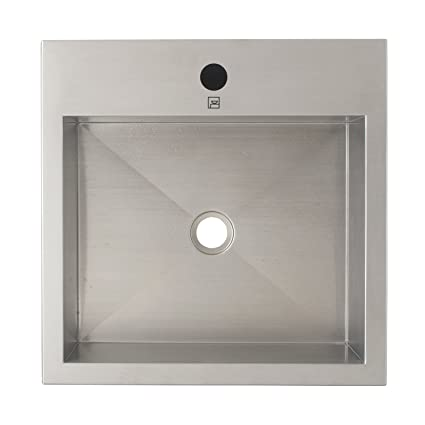 Decolav 1280-1B Simply Stainless Rectangle Stainless Steel Vessel Sink, Brushed Stainless Steel