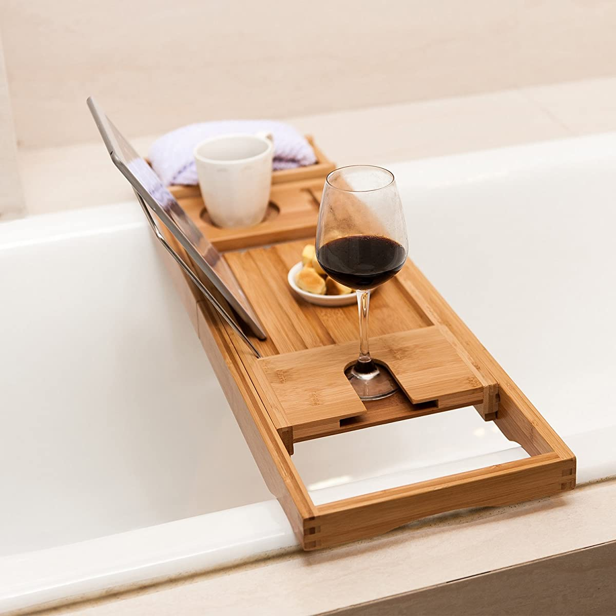 Valdler Home Wooden Bathtub Tray Caddy With Reading Rack And Wine ...