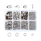 Pandahall 1 Box Nickel Free Jewelry Making Finding Kits with Lobster Clasps/Ribbon Ends/Jump Rings/Drop End Pieces (Platinum) (Color: Kits-4)