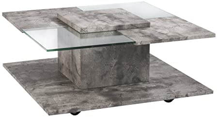 CAVADORE Django Couchtisch, MDF, betonoptik, 80 x 80 x 37.5 cm