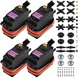 MG996R Metal Gear Torque Digital Servo with Arm Horn, SENHAI 4 Pack Robot Servo for FUTABA Hitec Sanwa GWS JR RC Helicopter Car Boat Robot (Color: MG996R)