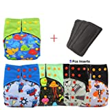 Baby Waterproof AI2 All-in-two Charcoal Bamboo Cloth Diaper Nappies by Ohbabyka (107) (Color: 107, Tamaño: One Size)