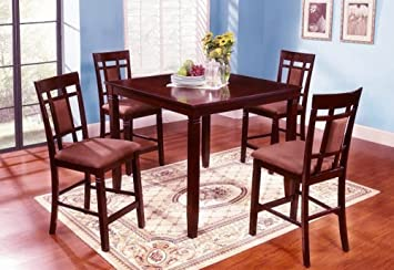 Wood Counter Height Pub Dining Set With Microfiber Cushion Chairs (5pc)