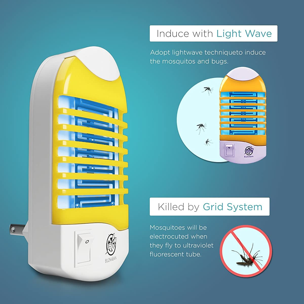 Mosquito Killer Lamp, Indoor Bug Zapper, Electronic Insect Killer Eliminates Most Flying Pests - 2 pack, Yellow color.1 year Warranty and Money Return.