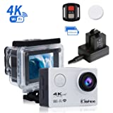 Kshioe 4K WIFI Sports Action Camera,16MP 170°Wide Angle LCD Screen Ultra HD 30M Waterproof DV Camcorder with 2.4G Remote Control ? 1050Mah Rechar