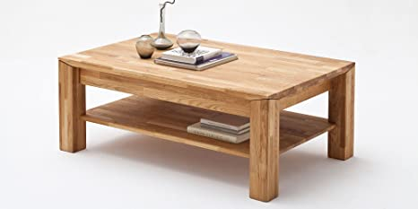 Couchtisch Holz Massiv Eiche mit Schublade Massivholz Wohnzimmer Tisch Asteiche Messina