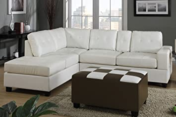 Sectional with Console in Cream by Poundex