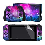 eXtremeRate Full Set Faceplate Skin Decals Stickers and 2 Pcs Screen Protector for Nintendo Switch/NS Console & Joy-con Controller & Dock Protection Kit - Shining Galaxy (Color: Shining Galaxy)