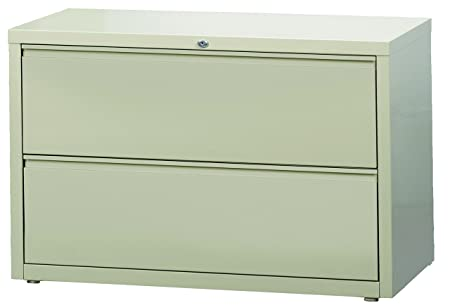 Office Dimensions Commercial 2-Drawer Lateral File with Full Width Pull, 42-Inch Wide, Putty