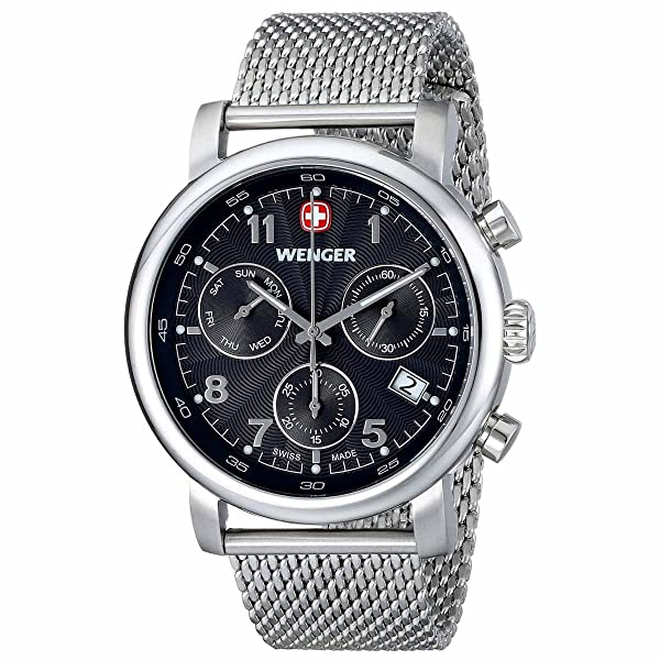 Wenger Men's 01.1043.102Urban Classic Silver-Tone Chrono Watch with Mesh Bracelet