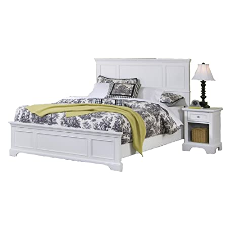Home Styles 5530-6013 Naples Bed Frame and Night Stand, King, White