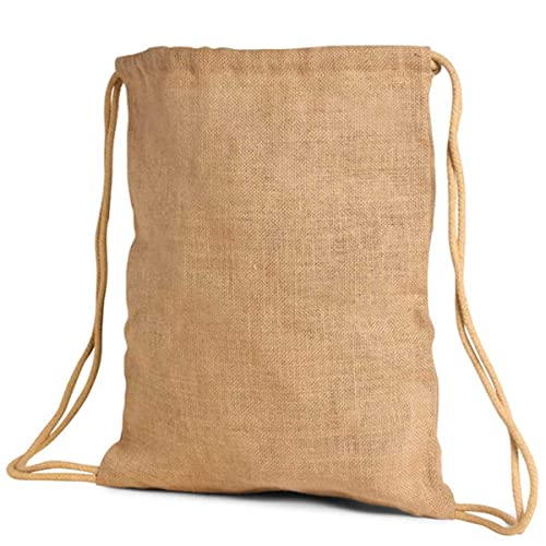 Pack of 2-Eco-Friendly Large Jute/ Buralp Drawstring Unlaminated Backpack