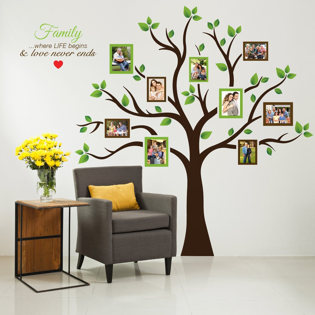Timber Artbox Large Family Tree Photo Frames Wall Decal – Amazon ...